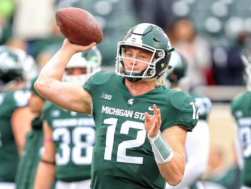 Oct 27, 2018; East Lansing, MI, USA; Michigan State Spartans quarterback Rocky Lombardi (12) warms up prior to a game against the Purdue Boilermakers at Spartan Stadium. Mandatory Credit: Mike Carter-USA TODAY Sports
