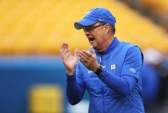 Oct 27, 2018; Pittsburgh, PA, USA;  Duke Blue Devils head coach David Cutcliffe reacts during warm ups before playing the Pittsburgh Panthers at Heinz Field. Mandatory Credit: Charles LeClaire-USA TODAY Sports