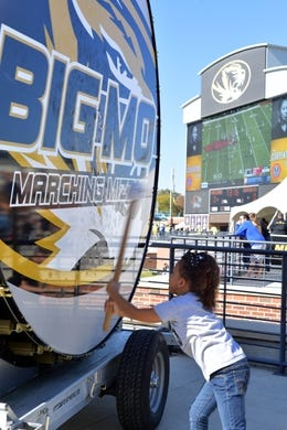Oct 27, 2018; Columbia, MO, USA; A young Missouri Tigers fan beats the Big Mo drum before the game against the Kentucky Wildcats at Memorial Stadium/Faurot Field. Mandatory Credit: Denny Medley-USA TODAY Sports
