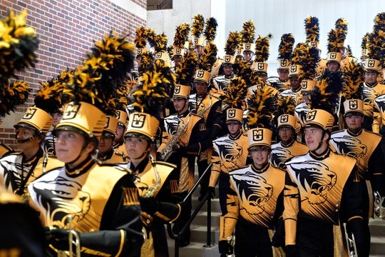 Oct 27, 2018; Columbia, MO, USA; Missouri Tigers marching band members enter the stadium before the game against the Kentucky Wildcats at Memorial Stadium/Faurot Field. Mandatory Credit: Denny Medley-USA TODAY Sports