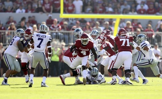 Oct 27, 2018; Norman, OK, USA; Oklahoma Sooners running back Trey Sermon (4) runs with the ball during the first quarter against the Kansas State Wildcats at Gaylord Family - Oklahoma Memorial Stadium. Mandatory Credit: Kevin Jairaj-USA TODAY Sports