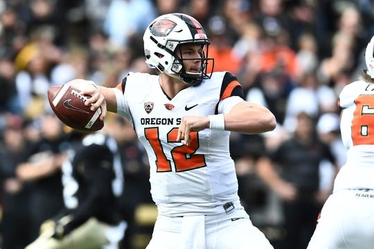 Oct 27, 2018; Boulder, CO, USA; Oregon State Beavers quarterback Jack Colletto (12) prepares to pass the ball in the first quarter against the Colorado Buffaloes at Folsom Field. Mandatory Credit: Ron Chenoy-USA TODAY Sports