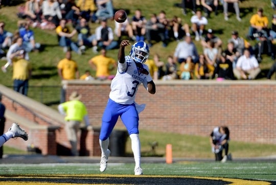 Oct 27, 2018; Columbia, MO, USA; Kentucky Wildcats quarterback Terry Wilson (3) throws a pass during the first half against the Missouri Tigers at Memorial Stadium/Faurot Field. Mandatory Credit: Denny Medley-USA TODAY Sports