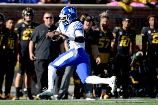 Oct 27, 2018; Columbia, MO, USA; Kentucky Wildcats quarterback Terry Wilson (3) runs the ball during the first half against the Missouri Tigers at Memorial Stadium/Faurot Field. Mandatory Credit: Denny Medley-USA TODAY Sports