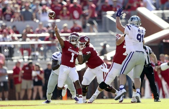 Oct 27, 2018; Norman, OK, USA; Oklahoma Sooners quarterback Kyler Murray (1) throws during the first half against the Kansas State Wildcats at Gaylord Family - Oklahoma Memorial Stadium. Mandatory Credit: Kevin Jairaj-USA TODAY Sports