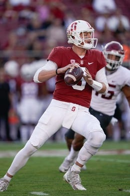 Oct 27, 2018; Stanford, CA, USA; Stanford Cardinal quarterback K.J. Costello (3) drops back to throw the ball against the Washington State Cougars during the first quarter at Stanford Stadium. Mandatory Credit: Stan Szeto-USA TODAY Sports