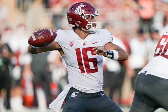 Oct 27, 2018; Stanford, CA, USA; Washington State Cougars quarterback Gardner Minshew (16) throws the football against the Stanford Cardinal during the first quarter at Stanford Stadium. Mandatory Credit: Stan Szeto-USA TODAY Sports