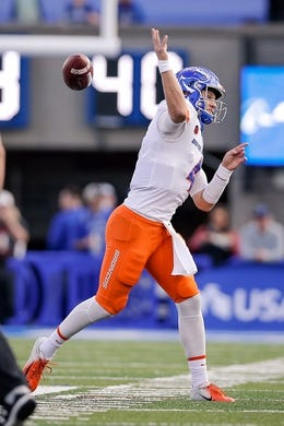 Oct 27, 2018; Colorado Springs, CO, USA; Boise State Broncos quarterback Brett Rypien (4) fumbles the ball on a pass attempt in the first quarter against the Air Force Falcons at Falcon Stadium. Mandatory Credit: Isaiah J. Downing-USA TODAY Sports