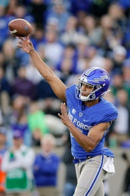 Oct 27, 2018; Colorado Springs, CO, USA; Air Force Falcons quarterback Isaiah Sanders (4) throws a pass in the first quarter against the Boise State Broncos at Falcon Stadium. Mandatory Credit: Isaiah J. Downing-USA TODAY Sports