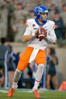 Oct 27, 2018; Colorado Springs, CO, USA; Boise State Broncos quarterback Brett Rypien (4) drops back to pass in the second quarter against the Air Force Falcons at Falcon Stadium. Mandatory Credit: Isaiah J. Downing-USA TODAY Sports