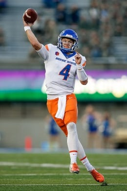Oct 27, 2018; Colorado Springs, CO, USA; Boise State Broncos quarterback Brett Rypien (4) throws the ball in the second quarter against the Air Force Falcons at Falcon Stadium. Mandatory Credit: Isaiah J. Downing-USA TODAY Sports