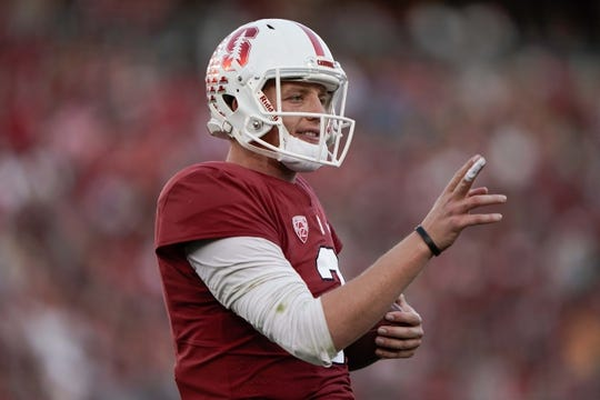 Oct 27, 2018; Stanford, CA, USA; Stanford Cardinal quarterback K.J. Costello (3) reacts during the game against the Washington State Cougars during the second quarter at Stanford Stadium. Mandatory Credit: Stan Szeto-USA TODAY Sports