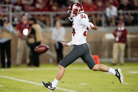 Oct 27, 2018; Stanford, CA, USA; Washington State Cougars punter Oscar Draguicevich (94) kicks the ball against the Stanford Cardinal during the third quarter at Stanford Stadium. Mandatory Credit: Stan Szeto-USA TODAY Sports