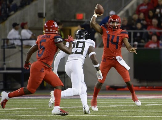 Oct 27, 2018; Tucson, AZ, USA; Arizona Wildcats quarterback Khalil Tate (14) passes the ball under pressure from Oregon Ducks linebacker Adrian Jackson (29) during the first half at Arizona Stadium. Mandatory Credit: Casey Sapio-USA TODAY Sports