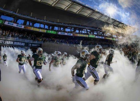 Nov 3, 2018; Waco, TX, USA; The Baylor Bears take the field to face the Oklahoma State Cowboys at McLane Stadium. Mandatory Credit: Jerome Miron-USA TODAY Sports