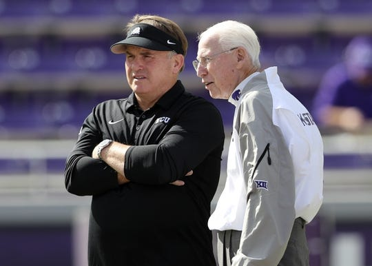 Nov 3, 2018; Fort Worth, TX, USA; TCU Horned Frogs head coach Gary Patterson (left) speaks with Kansas State Wildcats head coach Bill Snyder (right) before the game at Amon G. Carter Stadium. Mandatory Credit: Kevin Jairaj-USA TODAY Sports