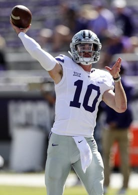 Nov 3, 2018; Fort Worth, TX, USA; Kansas State Wildcats quarterback Skylar Thompson (10) warms up before the game against the TCU Horned Frogs at Amon G. Carter Stadium. Mandatory Credit: Kevin Jairaj-USA TODAY Sports