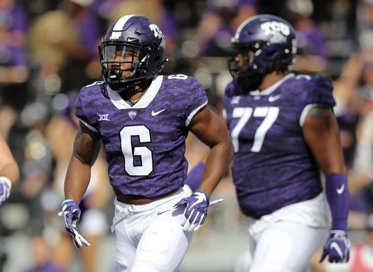 Nov 3, 2018; Fort Worth, TX, USA; TCU Horned Frogs running back Darius Anderson (6) celebrates after scoring a touchdown during the first quarter against the Kansas State Wildcats at Amon G. Carter Stadium. Mandatory Credit: Kevin Jairaj-USA TODAY Sports