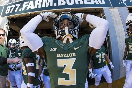 Nov 3, 2018; Waco, TX, USA; Baylor Bears safety Chris Miller (3) prepares to lead his team on to the field before the game against the Oklahoma State Cowboys at McLane Stadium. Mandatory Credit: Jerome Miron-USA TODAY Sports
