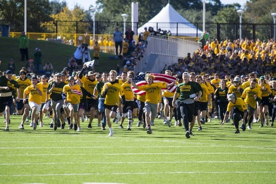 Nov 3, 2018; Waco, TX, USA; The Baylor Bears students run on to the field before the game against the Oklahoma State Cowboys at McLane Stadium. Mandatory Credit: Jerome Miron-USA TODAY Sports