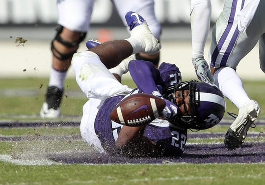 Nov 3, 2018; Fort Worth, TX, USA; TCU Horned Frogs wide receiver Jarrison Stewart (22) dives for but cannot make a catch during the first half against the Kansas State Wildcats at Amon G. Carter Stadium. Mandatory Credit: Kevin Jairaj-USA TODAY Sports