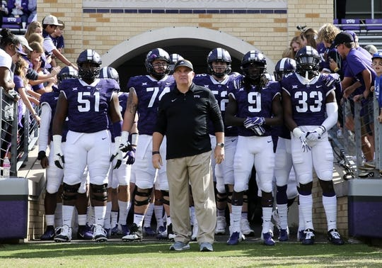 Nov 3, 2018; Fort Worth, TX, USA; TCU Horned Frogs head coach Gary Patterson leads his team out to the field before the game against the Kansas State Wildcats at Amon G. Carter Stadium. Mandatory Credit: Kevin Jairaj-USA TODAY Sports