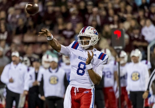 Nov 3, 2018; Starkville, MS, USA; Louisiana Tech Bulldogs quarterback J'Mar Smith (8) throws to a receiver against the Mississippi State Bulldogs during the first half at Davis Wade Stadium. Mandatory Credit: Vasha Hunt-USA TODAY Sports