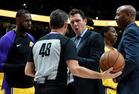 Nov 3, 2018; Portland, OR, USA; Los Angeles Lakers head coach Luke Walton has words with referee Scott Foster (48) during the first half of the game at the Moda Center. Mandatory Credit: Steve Dykes-USA TODAY Sports
