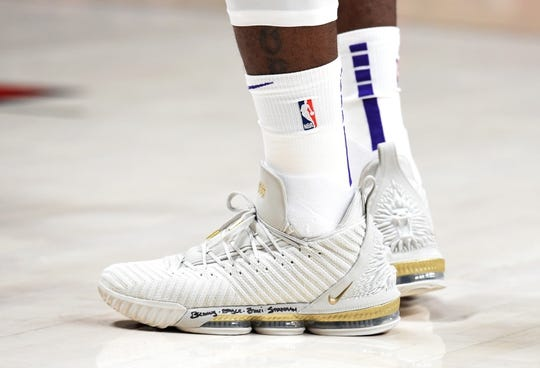 Nov 3, 2018; Portland, OR, USA; General view of the shoes of Los Angeles Lakers forward LeBron James (23) during the first half of the game against the Portland Trail Blazers at the Moda Center. Mandatory Credit: Steve Dykes-USA TODAY Sports