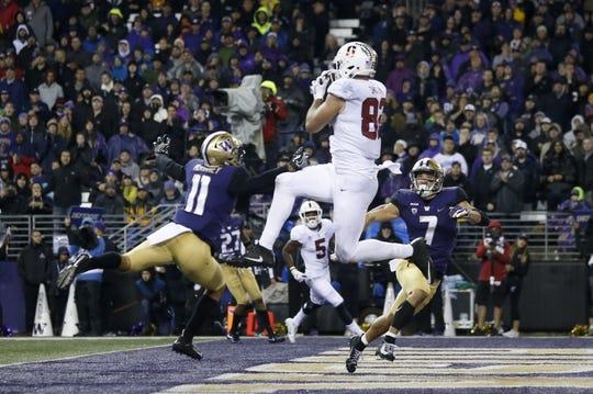 Nov 3, 2018; Seattle, WA, USA; Stanford Cardinal tight end Kaden Smith (82) catches a 14-yard touchdown pass against the Washington Huskies during the third quarter at Husky Stadium. Mandatory Credit: Jennifer Buchanan-USA TODAY Sports