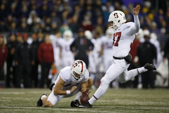 Nov 3, 2018; Seattle, WA, USA; Stanford Cardinal place kicker Collin Riccitelli (37) misses an extra point against the Washington Huskies during the fourth quarter at Husky Stadium. The missed point would keep the Huskies lead at four. Mandatory Credit: Jennifer Buchanan-USA TODAY Sports