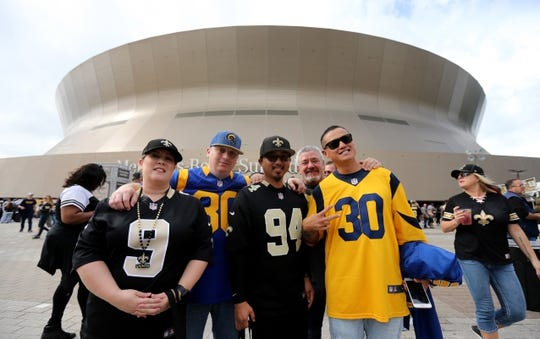 Nov 4, 2018; New Orleans, LA, USA; Saints and Rams fans together outside the Mercedes-Benz Superdome before the game between the New Orleans Saints and the Los Angeles Rams. Mandatory Credit: Chuck Cook-USA TODAY Sports