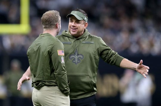 Nov 4, 2018; New Orleans, LA, USA; New Orleans Saints head coach Sean Payton, right, talks to Los Angeles Rams head coach Sean McVay before their game at the Mercedes-Benz Superdome. Mandatory Credit: Chuck Cook-USA TODAY Sports