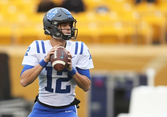 Oct 27, 2018; Pittsburgh, PA, USA;  Duke Blue Devils quarterback Gunnar Holmberg (12) warms up before playing the Pittsburgh Panthers at Heinz Field. PITT won 54-45. Mandatory Credit: Charles LeClaire-USA TODAY Sports