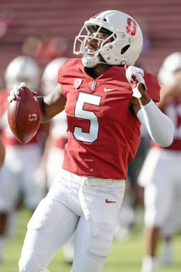 Oct 27, 2018; Stanford, CA, USA; Stanford Cardinal safety Frank Buncom (5) warms up before the game against the Washington State Cougars at Stanford Stadium. Mandatory Credit: Stan Szeto-USA TODAY Sports