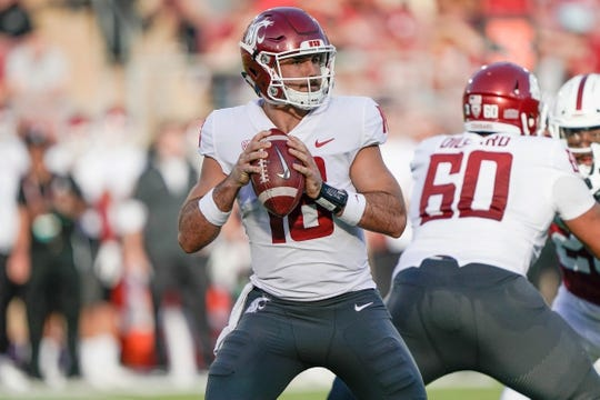 Oct 27, 2018; Stanford, CA, USA; Washington State Cougars quarterback Gardner Minshew (16) prepares to throw the ball against the Stanford Cardinal during the first quarter at Stanford Stadium. Mandatory Credit: Stan Szeto-USA TODAY Sports