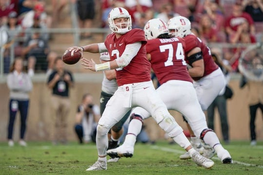 Oct 27, 2018; Stanford, CA, USA; Stanford Cardinal quarterback K.J. Costello (3) throws the football against the Washington State Cougars during the second quarter at Stanford Stadium. Mandatory Credit: Stan Szeto-USA TODAY Sports