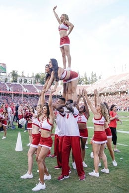 Oct 27, 2018; Stanford, CA, USA; Stanford Cardinal cheerleaders entertains the crowd during the first quarter against the Washington State Cougars at Stanford Stadium. Mandatory Credit: Stan Szeto-USA TODAY Sports