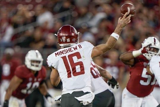 Oct 27, 2018; Stanford, CA, USA; Washington State Cougars quarterback Gardner Minshew (16) throws the football against the Stanford Cardinal during the third quarter at Stanford Stadium. Mandatory Credit: Stan Szeto-USA TODAY Sports