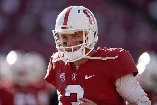 Oct 27, 2018; Stanford, CA, USA; Stanford Cardinal quarterback K.J. Costello (3) warms up before the game against the Washington State Cougars at Stanford Stadium. Mandatory Credit: Stan Szeto-USA TODAY Sports
