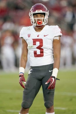 Oct 27, 2018; Stanford, CA, USA; Washington State Cougars cornerback Darrien Molton (3) waits for the next play against the Stanford Cardinal during the third quarter at Stanford Stadium. Mandatory Credit: Stan Szeto-USA TODAY Sports