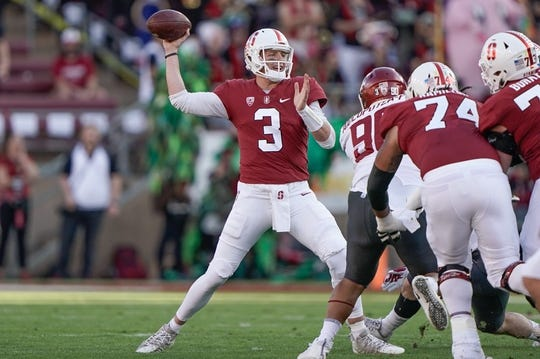 Oct 27, 2018; Stanford, CA, USA; Stanford Cardinal quarterback K.J. Costello (3) throws the football against the Washington State Cougars during the first quarter at Stanford Stadium. Mandatory Credit: Stan Szeto-USA TODAY Sports