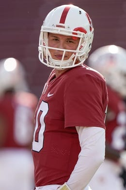 Oct 27, 2018; Stanford, CA, USA; Stanford Cardinal quarterback Jack West (10) before the game against the Washington State Cougars at Stanford Stadium. Mandatory Credit: Stan Szeto-USA TODAY Sports