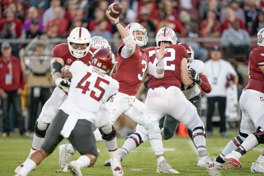Oct 27, 2018; Stanford, CA, USA; Stanford Cardinal quarterback K.J. Costello (3) throws the football against the Washington State Cougars during the third quarter at Stanford Stadium. Mandatory Credit: Stan Szeto-USA TODAY Sports
