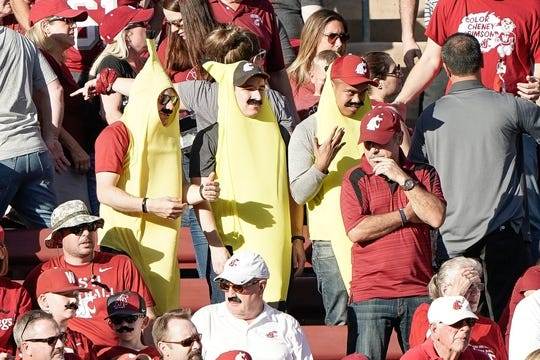 Oct 27, 2018; Stanford, CA, USA; Washington State Cougars fans cheer for their team against the Stanford Cardinal during the first quarter at Stanford Stadium. Mandatory Credit: Stan Szeto-USA TODAY Sports