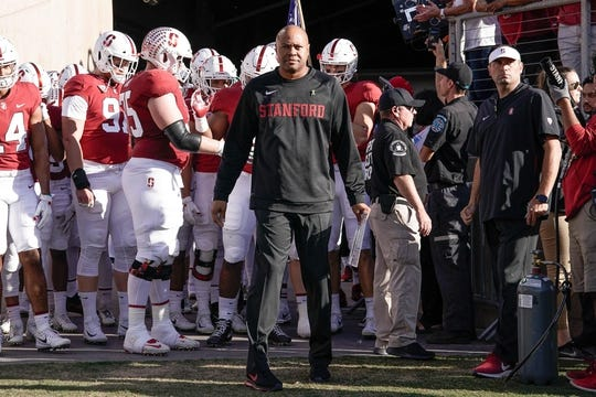 Oct 27, 2018; Stanford, CA, USA; Stanford Cardinal head coach David Shaw before the game against the Washington State Cougars at Stanford Stadium. Mandatory Credit: Stan Szeto-USA TODAY Sports