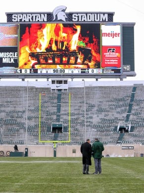 Nov 10, 2018; East Lansing, MI, USA; Michigan State Spartans head coach Mark Dantonio stands on the field prior to a game against the Ohio State Buckeyes at Spartan Stadium. Mandatory Credit: Mike Carter-USA TODAY Sports