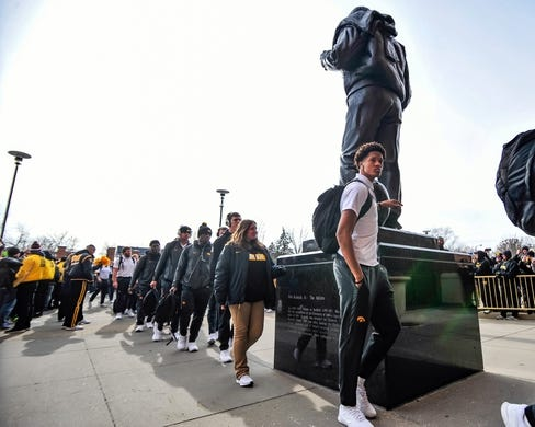 Nov 10, 2018; Iowa City, IA, USA; The Iowa Hawkeyes enter Kinnick Stadium before the game between the Iowa Hawkeyes and the Northwestern Wildcats. Mandatory Credit: Jeffrey Becker-USA TODAY Sports