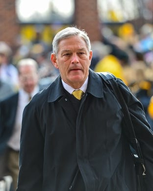 Nov 10, 2018; Iowa City, IA, USA; Iowa Hawkeyes head coach Kirk Ferentz enters Kinnick Stadium before the game between the Iowa Hawkeyes and the Northwestern Wildcats. Mandatory Credit: Jeffrey Becker-USA TODAY Sports