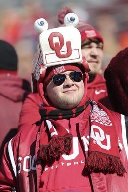 Nov 10, 2018; Norman, OK, USA; Oklahoma Sooners fan before the game against the Oklahoma State Cowboys at Gaylord Family - Oklahoma Memorial Stadium. Mandatory Credit: Kevin Jairaj-USA TODAY Sports